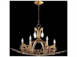 Quorum International Charlton Aged Brass Six-Light 30'' Wide Standard Chandelier