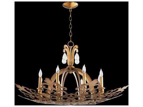Quorum International Charlton Aged Brass Eight-Light 35.5'' Wide Standard Chandelier