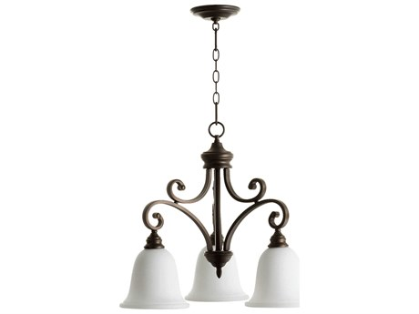 Quorum International Bryant Oiled Bronze With Satin Opal Three-Light 25'' Wide Chandelier