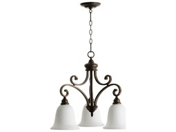 Quorum International Bryant Oiled Bronze With Satin Opal Three-Light 25'' Wide Standard Chandelier