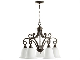 Quorum International Bryant Oiled Bronze With Satin Opal Five-Light 30'' Wide Standard Chandelier