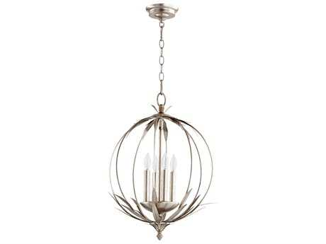 Quorum International Flora Aged Silver Leaf Four-Light 15'' Wide Mini Chandelier
