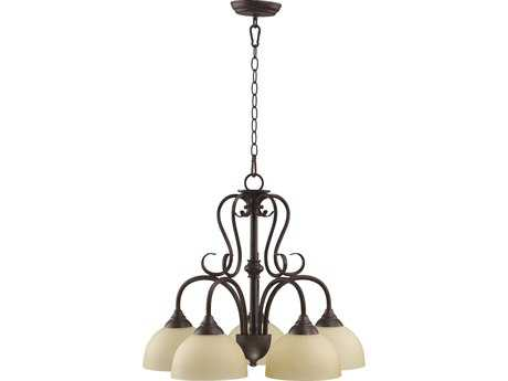 Quorum International Powell Toasted Sienna Five-Light 22'' Wide s Mini Chandelier