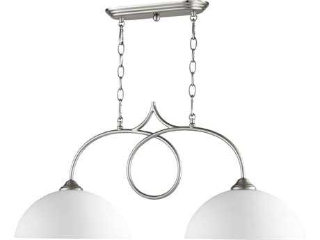 Quorum International Brooks Satin Nickel Two-Light 32.5'' Long Island Light