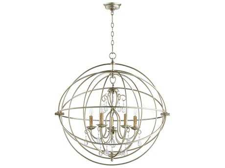 Quorum International Cilia Aged Silver Leaf Five-Light 32'' Wide Chandelier