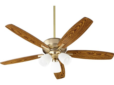 Quorum International Breeze Aged Brass Three-Light 52'' Wide LED Indoor Ceiling Fan with Dark Oak / Walnut Blades
