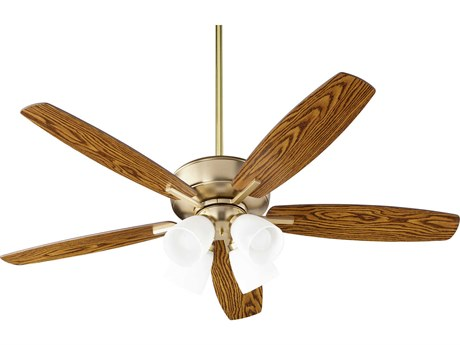 Quorum International Breeze Aged Brass Four-Light 52'' Wide LED Indoor Ceiling Fan with Dark Oak / Walnut Blades