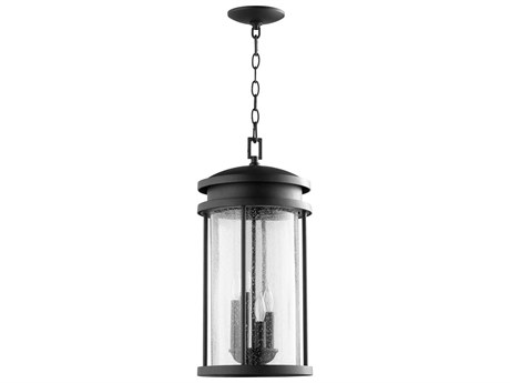 Quorum International Hadley Noir with Clear Seeded Glass Four-Light 10'' Wide Hanging Light