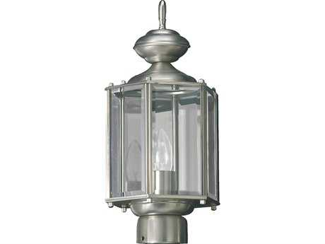 Quorum International Satin Nickel Outdoor Post Lantern