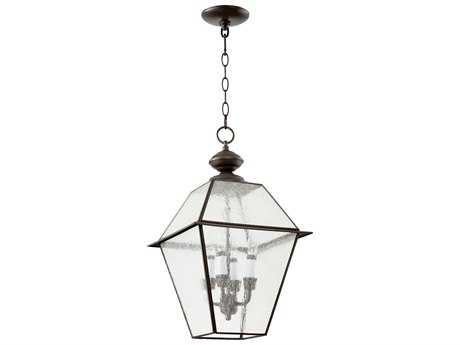 Quorum International Duvall Bronze with Clear Seeded Glass Four-Light Outdoor Hanging Light