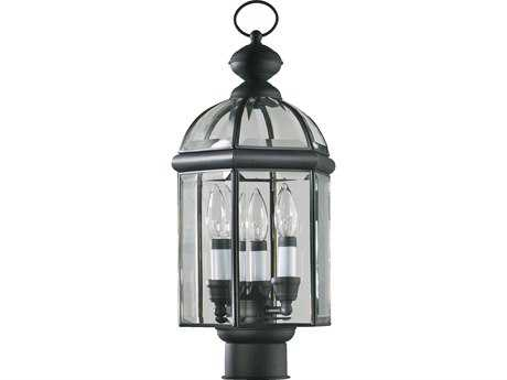 Quorum International Wellsley Gloss Black Three-Lights Outdoor Post Light