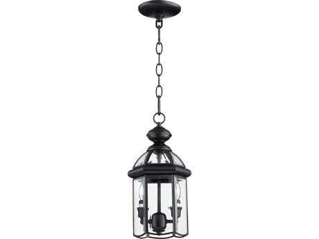 Quorum International Wellsley Gloss Black Two-Lights Outdoor Hanging Lantern