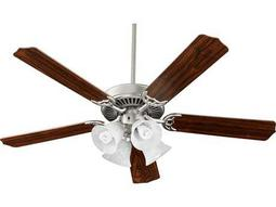 Quorum International Satin Nickel with Walnut 52 Inch Indoor Ceiling Fan with Light
