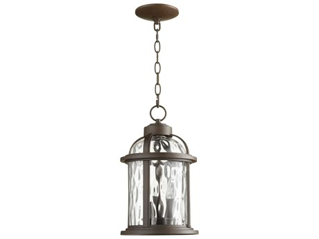 Quorum International Winston Oiled Bronze with Clear Hammered Glass Three-Light 9'' Wide Hanging Light