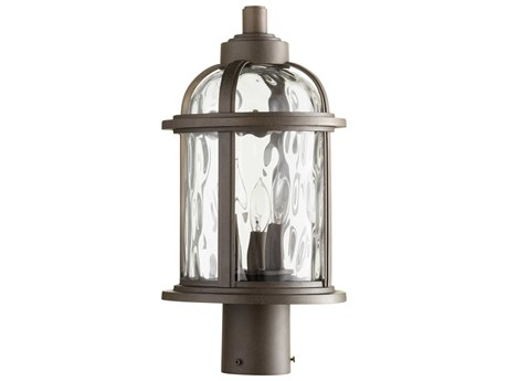 Quorum International Winston Oiled Bronze with Clear Hammered Glass Three-Light 9'' Wide Outdoor Post Light