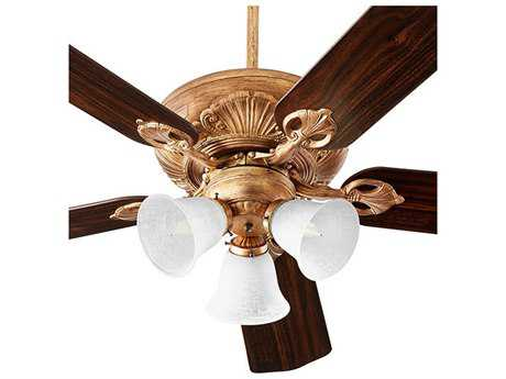 Quorum International Chateaux Uni-Pack Vintage Gold Leaf with White Linen Glass Three-Light 52'' Wide Indoor Ceiling Fan