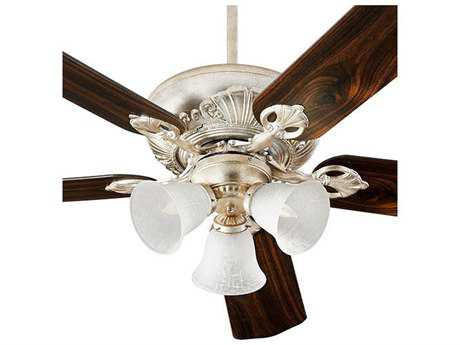 Quorum International Chateaux Uni-Pack Aged Silver Leaf with White Linen Glass Three-Light 52'' Wide Indoor Ceiling Fan