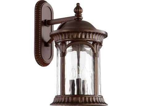 Quorum International Riviera Oiled Bronze Three-Lights Outdoor Wall Lantern