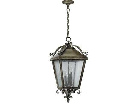 Quorum International Rochelle Etruscan Sienna Four-Lights Outdoor Hanging Light