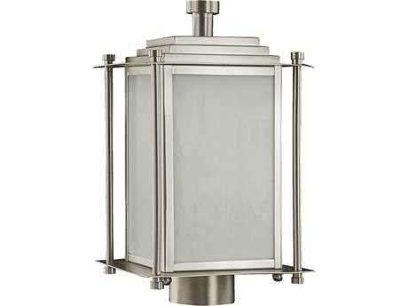 Quorum International Shoreham Satin Nickel Three-Lights Outdoor Post Lantern