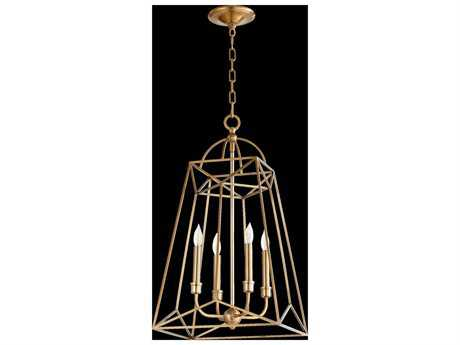Quorum International Clarkson Aged Brass Four-Light 14'' Wide Mini Chandelier