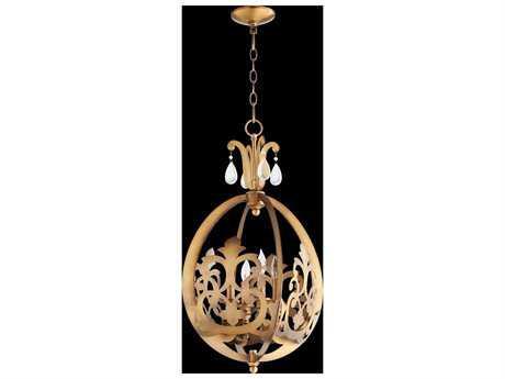 Quorum International Charlton Aged Brass Four-Light Pendant Light