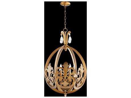 Quorum International Charlton Aged Brass Six-Light Pendant Light
