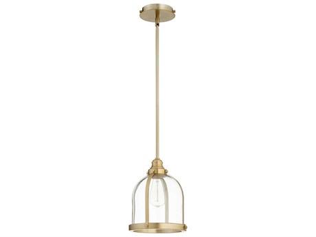 Quorum International Banded Dome Aged Brass 9.5'' Wide Mini-Pendant Light