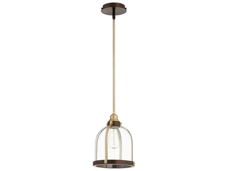 Quorum International Banded Dome Aged Brass and Oiled Bronze 10'' Wide Mini-Pendant Light