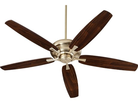 Quorum International Apex Aged Brass 56'' Wide Indoor Ceiling Fan with Dark Oak / Walnut Blades