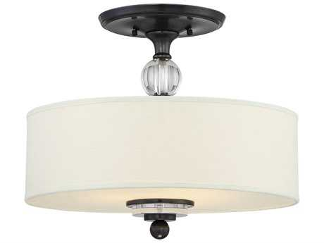 Quoizel Downtown Dusk Bronze 17'' Wide Three-Light Semi-Flush Mount Ceiling Light