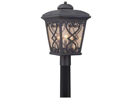 Quoizel Fort Quinn Marcado Black 11'' Wide Three-Light Outdoor Post Light