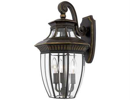 Quoizel Georgetown Dark Bronze Three-Light Outdoor Wall Light