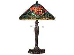 Quoizel Tiffany Two-Light Imperial Bronze Table Lamp with Tiffany Glass Shade