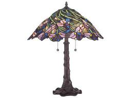 Quoizel Tiffany Two-Light Table Lamp with Tiffany Glass Shade