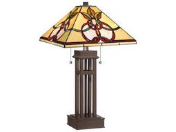 Quoizel Tiffany Two-Light Russet Table Lamp with Tiffany Glass Shade