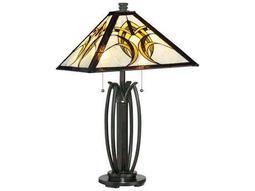 Quoizel Tiffany Two-Light Valiant Bronze Table Lamp with Tiffany Glass Shade