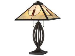 Quoizel Tiffany Two-Light Bronze Patina Table Lamp with Tiffany Shade