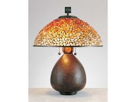 Quoizel Cinnamon Pomez Tiffany Two-Light Table Lamp