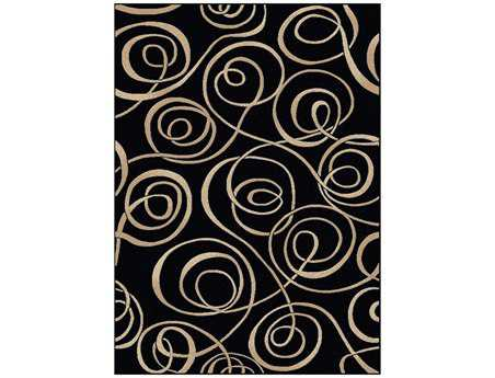 Radici Vesuvio Rectangular Black Area Rug