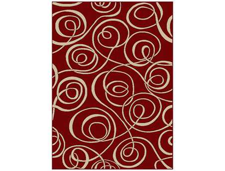 Radici Vesuvio Rectangular Red Area Rug