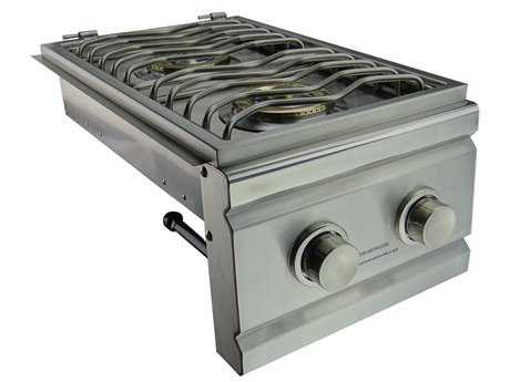 RCS Grills Stainless Natural Gas Double Side Burner - Slide-In