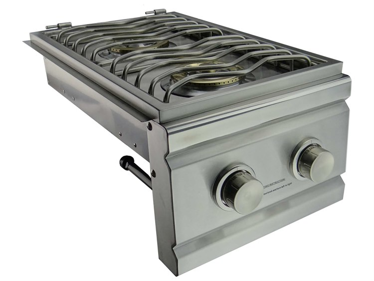 RCS Grills Stainless Natural Gas Double Side Burner - Slide-In PatioLiving