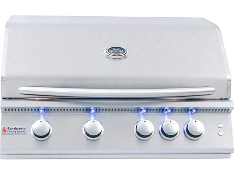 RCS Premier Series 32 Inch 4-Burner Built-In Propane Gas Grill With Rear Infrared Burner & Grill Lights