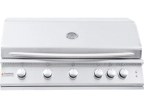 RCS Premier Series 40 Inch 5-Burner Built-In Propane Gas Grill With Rear Infrared Burner & Grill Lights