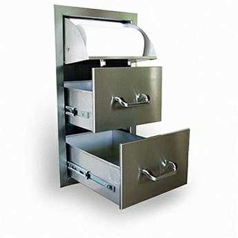 RCS Grills Stainless Paper Towel Holder & Two Drawer Combo - Fully Enclosed