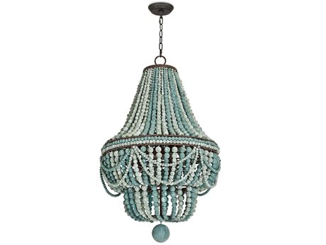 Regina Andrew Malibu Weathered Blue Six-Lights 21'' Wide Chandelier