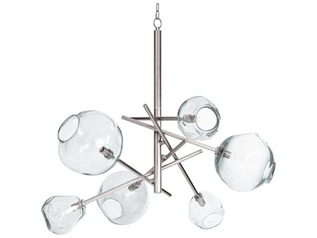 Regina Andrew Molten Polished Nickel with Clear Glass Six-Lights 44'' Wide Chandelier