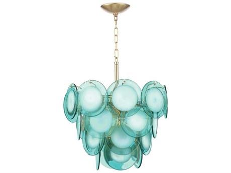 Regina Andrew Mini Diva Aqua with Natural Brass Four-Lights 16'' Wide Pendant Light