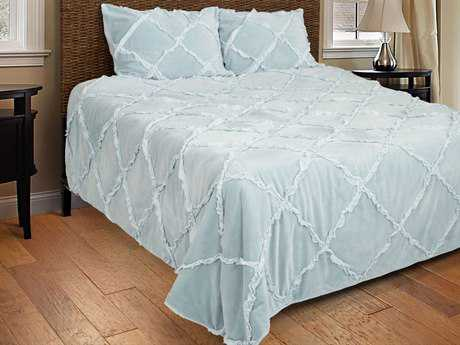 Rizzy Home Posh Light Blue Quilt Set